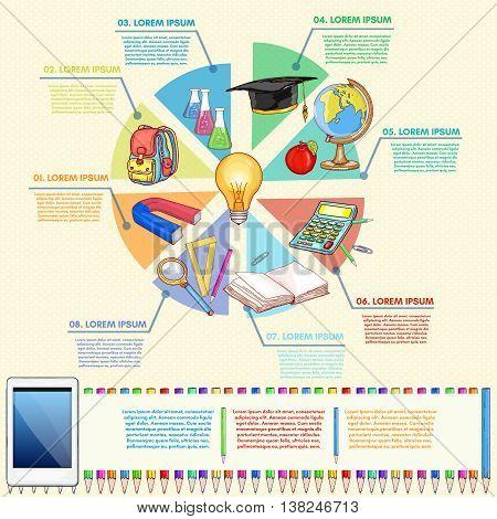 Online education infographics diagram of school tools back to school vector illustration