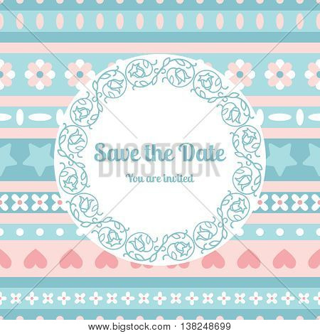 Save the date card template decorated cute pattern with floral fram. Vector illustration