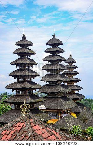 Part of Pura Besakih Balinese traditional Hindu temple and famous landmark on Bali island Indonesia