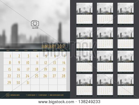Vector Of Calendar 2017 Year ,12 Month Calendar Set With Modern Style,week Start At Sunday,template