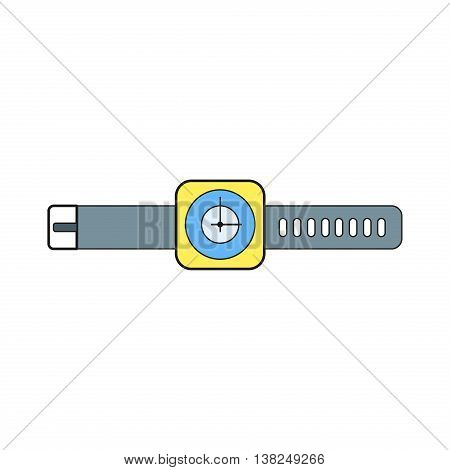Hand watch vector icon. Hour business technology design hand watch. Fashion bracelet flat hand watch minute modern interface object. Hand clock wrist wristwatch vector illustration.