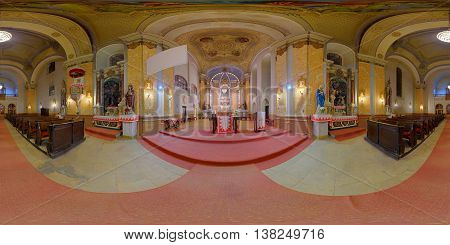 GHERLA, ROMANIA - November 21: 360 panorama of Saint Peter's Chruch's interior (altar) lit up at night on November 21, 2015, in Gherla (Szamosújvár), Transylvania, Romania.