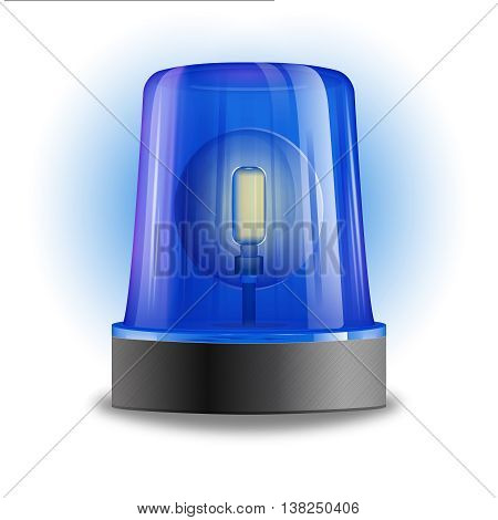 Single design element demonstrating blue flasher siren with spinning beacon for police cars ambulance or fire trucks vector illustration