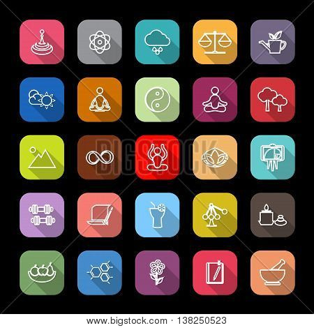 Zen concept line icons with long shadow stock vector