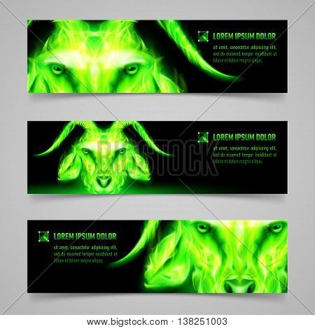 Set of banners with goat head in green flame. Symbol of the year 2015