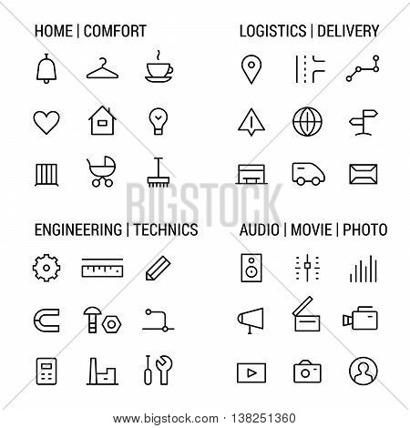 Icons sets: home and comfot, logistics and delivery, engineering and technics, audio, movie, photo.