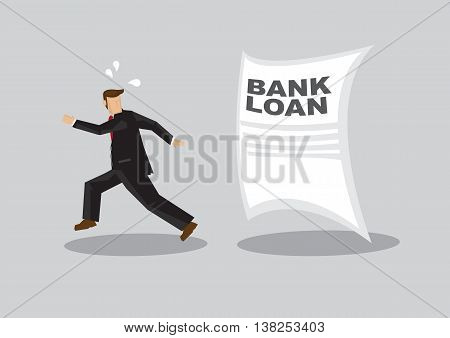 Cartoon businessman running away from giant Bank Loan document chasing after him. Creative vector illustration on avoiding bank loan concept isolated on grey background.