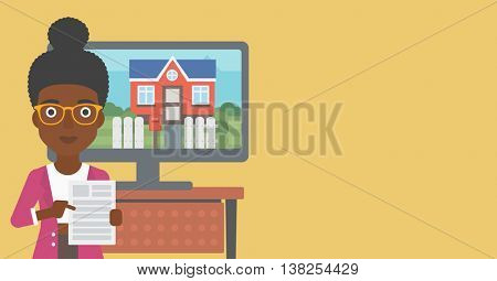 An african-american young woman standing in front of tv screen with house photo on it and pointing at a real estate contract. Vector flat design illustration. Horizontal layout.