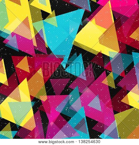 psychedelic graffiti triangles geometric pattern on a black background
