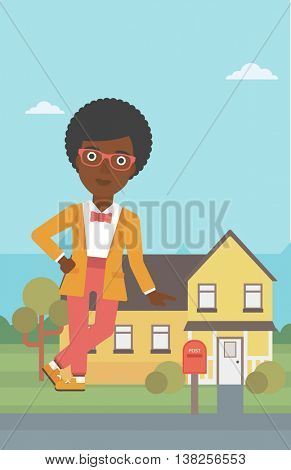 An african-american female real estate agent standing near the house. Real estate agent leaning on the house. Real estate agent offering house. Vector flat design illustration. Vertical layout.