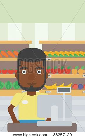 An african-american young cashier standing at the checkout in supermarket. Male cashier working at checkout in supermarket. Vector flat design illustration. Vertical layout.