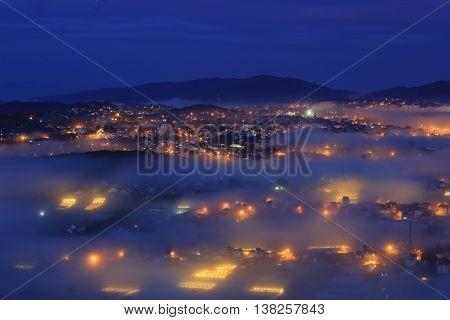 City night light, Dalat, Vietnam. Great view