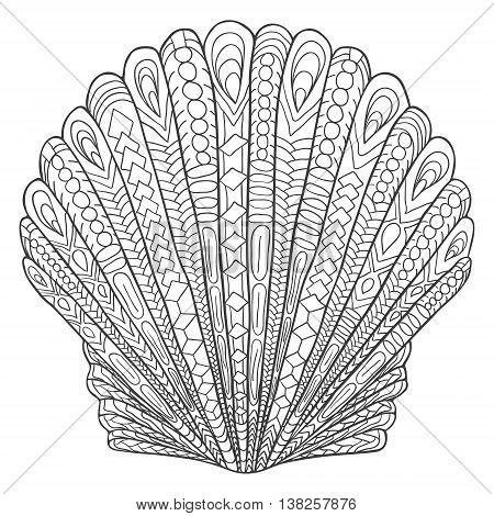 Zentangle Shell Doodle Black White