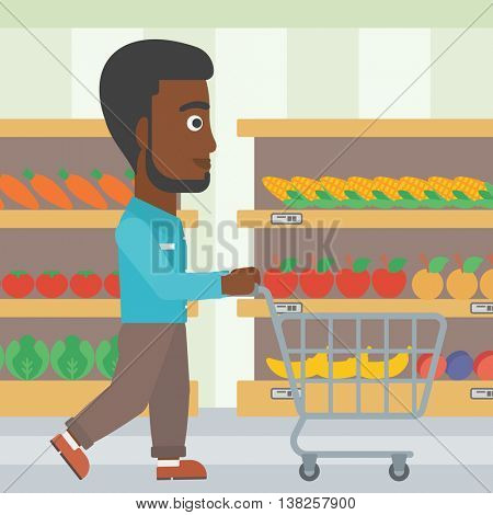 An african-american man pushing empty supermarket cart. Customer shopping at supermarket with cart. Man walking with trolley on aisle at supermarket. Vector flat design illustration. Square layout.