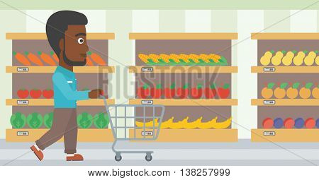 African-american man pushing empty supermarket cart. Customer shopping at supermarket with cart. Man walking with trolley on aisle at supermarket. Vector flat design illustration. Horizontal layout.