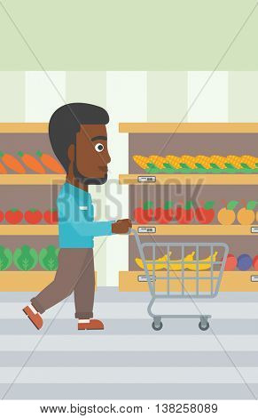 An african-american man pushing empty supermarket cart. Customer shopping at supermarket with cart. Man walking with trolley on aisle at supermarket. Vector flat design illustration. Vertical layout.