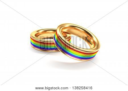 3d illustration Wedding Rings symbolizing the same sex marriage