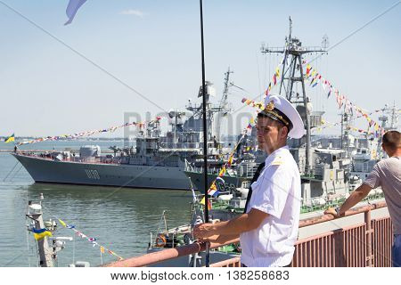 Odesa, Ukraine - July 03, 2016: Ukrainian Navy officer in the Port of Odesa, guarding during celebration NAVY forces day