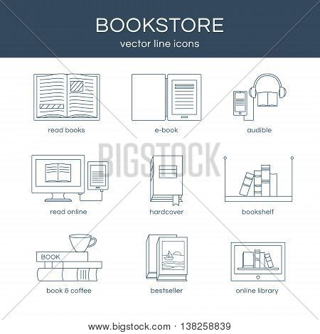 Set of icons a bookstore. Set of vector line icons. Vector icons collection with different book objects. Illustration of reading books and education. Design elements for logos.