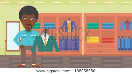 An african-american man holding hanger with suit jacket and shirt. Man choosing suit jacket at clothing store. Shop assistant offering suit jacket. Vector flat design illustration. Horizontal layout.