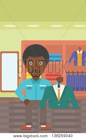An african-american man holding hanger with suit jacket and shirt. Man choosing suit jacket at clothing store. Shop assistant offering suit jacket. Vector flat design illustration. Vertical layout.