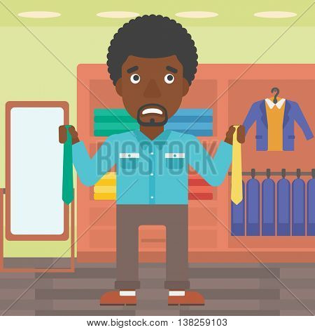 An african-american man holding two neckties and trying to choose the best one. Customer choosing necktie at clothing store. Vector flat design illustration. Square layout.