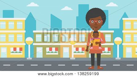 An african-american mother carrying son in sling. Mother with baby in sling walking in the city street. Young mother carrying a newborn in sling. Vector flat design illustration. Horizontal layout.