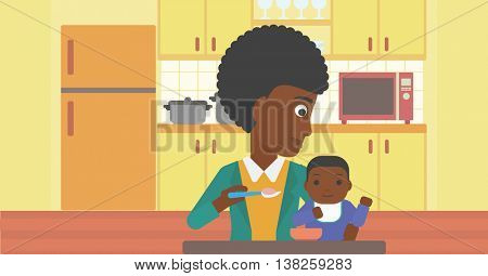 An african-american mother feeding baby at home. Young mother teaching baby to eat with spoon. Mother spoon-feeding her baby at kitchen. Vector flat design illustration. Horizontal layout.