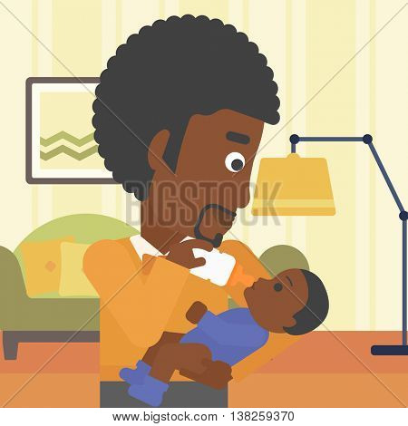 An african-american father feeding baby with a milk bottle. Father feeding newborn baby at home. Baby boy drinking milk from bottle. Vector flat design illustration. Square layout.