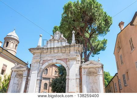 Ancient Monument in Ravenna cathedral  of San Vitale,  Italy