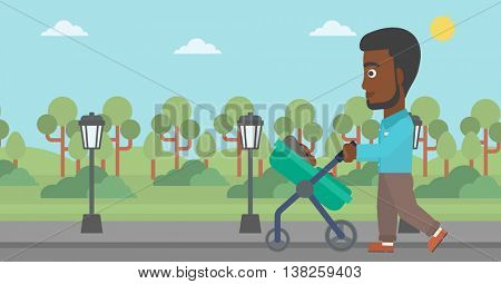 An african-american young father walking with baby stroller in the park. Father walking with his baby in stroller. Father pushing baby stroller. Vector flat design illustration. Horizontal layout.