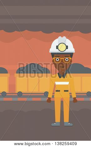 African-american confident coal miner. A female miner in hardhat with torch. Miner standing on the background of mining tunnel with cart full of coal. Vector flat design illustration. Vertical layout.