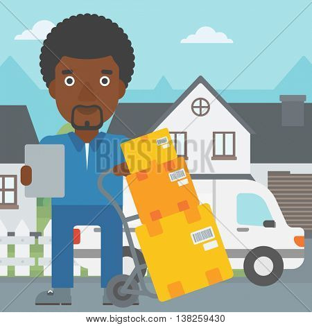 An african-american delivery man with cardboard boxes on troley. Delivery man with clipboard. Man standing in front of delivery van. Vector flat design illustration. Square layout.