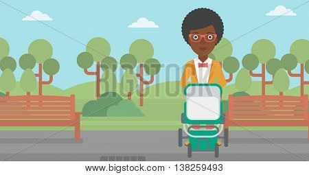An african-american young mother walking with baby stroller in the park. Mother walking with her baby in stroller. Mother pushing baby stroller. Vector flat design illustration. Horizontal layout.