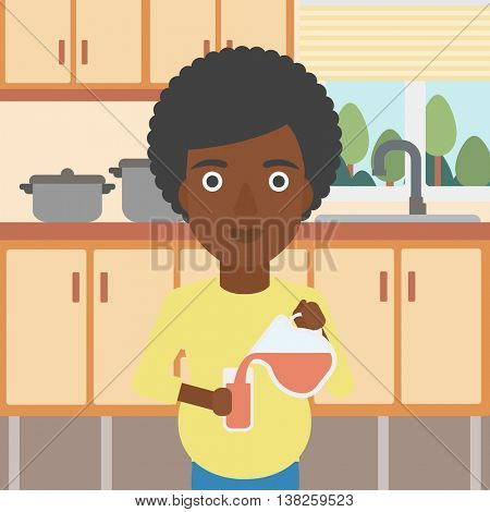 An african-american pregnant woman pouring juice in glass. Pregnant woman drinking juice. Concept of healthy nutrition during pregnancy. Vector flat design illustration. Square layout.