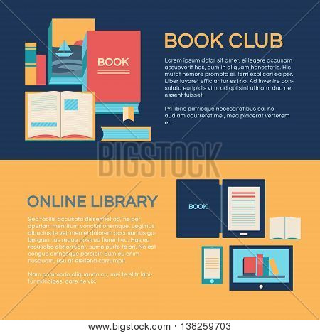 Banners template vector with books. Collection of elements: open book e-book online library a stack of books. Illustration of book club. Background for invitation cards web pages covers posters.