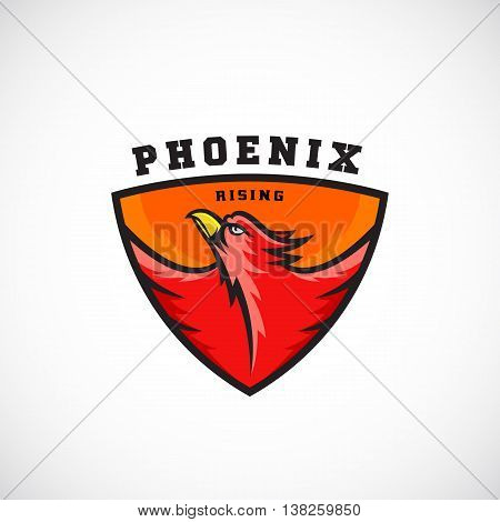 Phoenix Rising Abstract Vector Logo Template. Flying Fire Bird Illustration in a Shield. Perfect for Sport Team Emblems, League Labels, etc. Isolated.