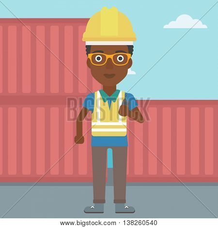 An african-american port worker talking on wireless radio. Port worker standing on cargo containers background. Woman using wireless radio. Vector flat design illustration. Square layout.