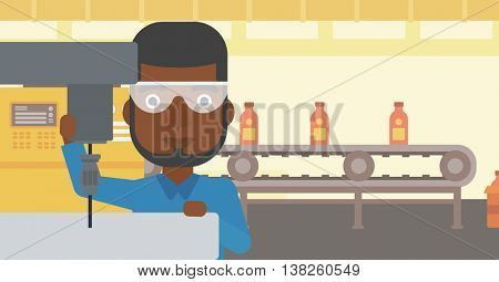An african-american man working on a milling machine at workshop. Man using milling machine at factory. Man making a hole using a milling machine. Vector flat design illustration. Horizontal layout.