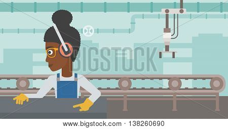 An african-american woman working on metal press machine. Worker in headphones operating metal press machine at workshop. Woman using press machine. Vector flat design illustration. Horizontal layout.