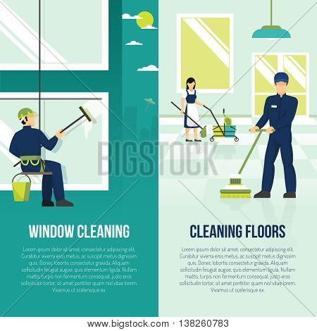 Professional industrial floor and windows cleaning services 2 flat vertical advertisement banners set abstract isolated vector illustration