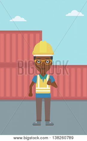 An african-american port worker talking on wireless radio. Port worker standing on cargo containers background. Woman using wireless radio. Vector flat design illustration. Vertical layout.