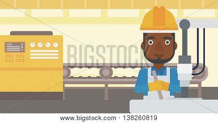 An african-american man working on industrial drilling machine. Man using drilling machine at manufactory. Metalworker drilling at workplace. Vector flat design illustration. Horizontal layout.
