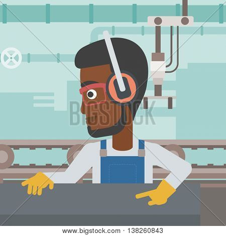 An african-american man working on metal press machine. Worker in headphones operating metal press machine at factory workshop. Vector flat design illustration. Square layout.