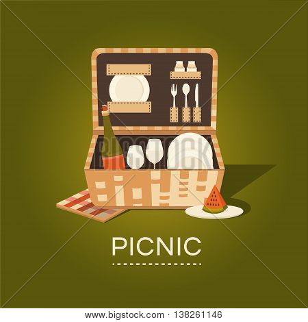 Vector illustration of a picnic basket. Set for barbecue. Summer weekend outdoors. Family picnic. Collection of objects: basket, wine, plate, fork, spoon, glass, napkins Rest in park