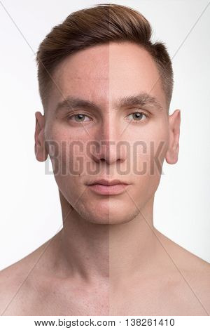 Man Before And After Retouch