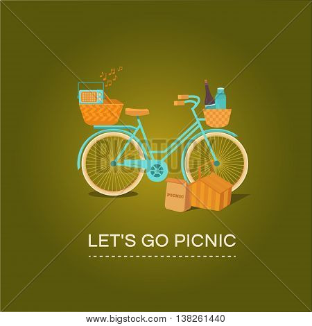 Illustration let's go to picnic. Vector banner with a bike. BBQ on the weekends. Picnic outdoors. Rest on the nature. Set of elements: bicycle, basket, recorder, wine and other.
