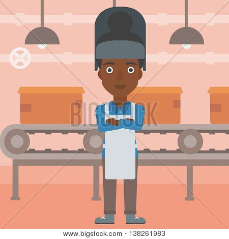 An african-american industrial worker with protective welder mask. Welder with arms crossed on the background of factory workshop with conveyor belt. Vector flat design illustration. Square layout.
