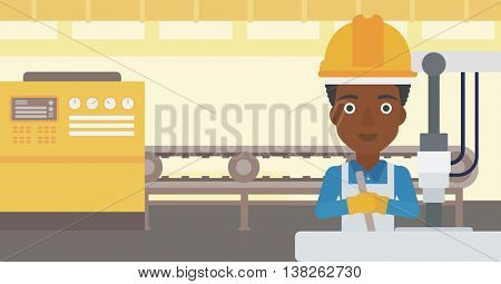 An african-american woman working on industrial drilling machine. Woman using drilling machine at manufactory. Metalworker drilling at workplace. Vector flat design illustration. Horizontal layout.