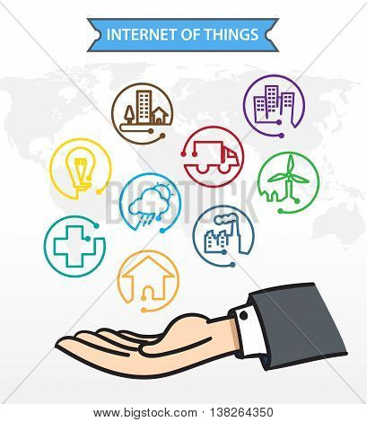 Business man Open hand with icon about Internet of things (IoT) Connection Concept. poster